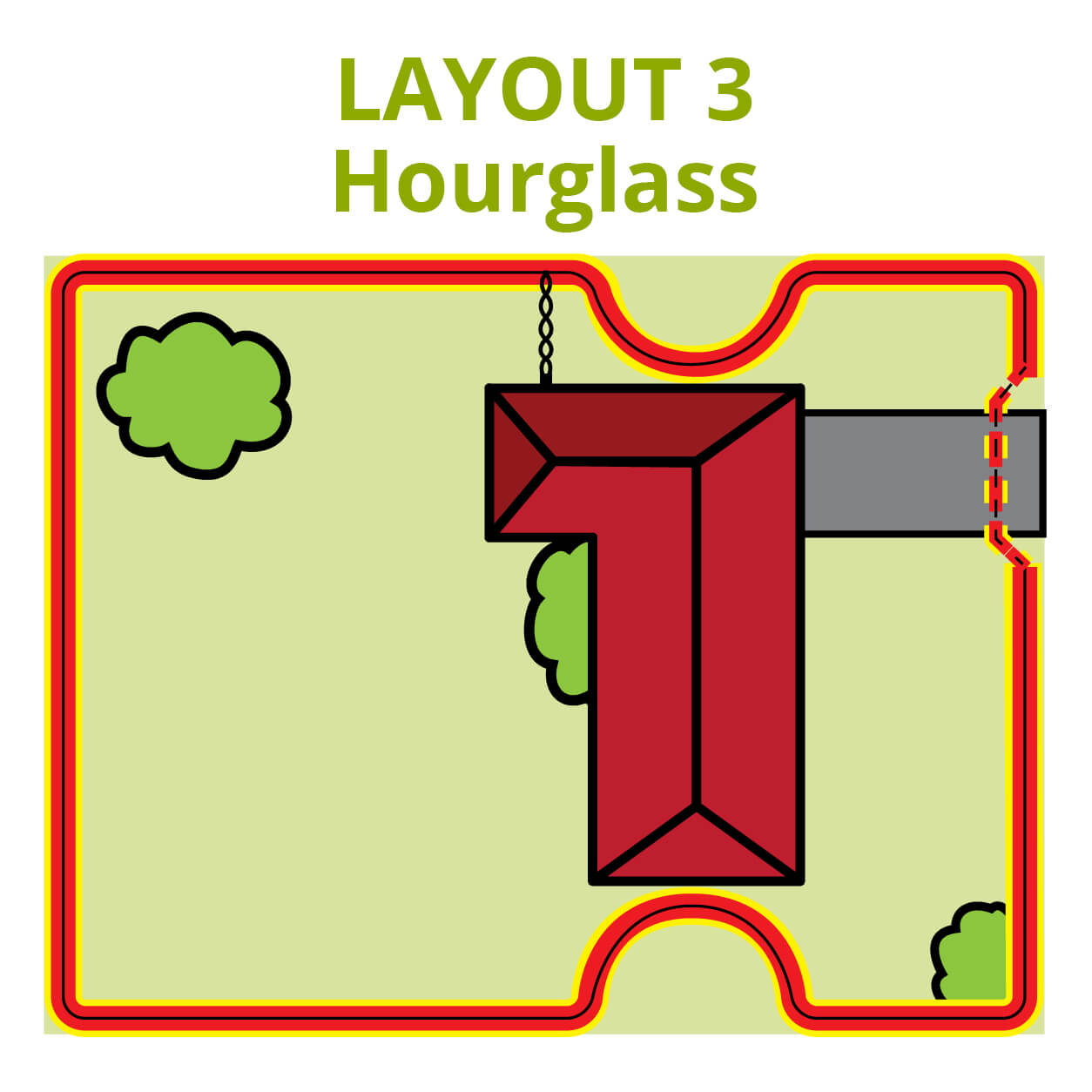 Dog Fence Hour Glass Layout